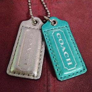 2 Coach leather hang tags silver/teal